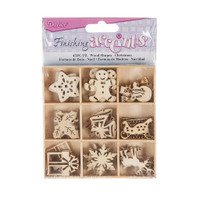 Wood Holiday Embellishments - 45 pieces