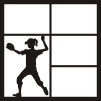 Softball Girl Mitt & Ball  - 12 x 12 Scrapbook OL