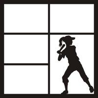 Softball Girl Batter _ 12 x 12 Scrapbook OL