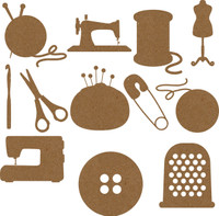 Sewing Bundle Set- Chipboard Embellishments 24 pieces total - 2 of each