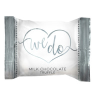 "Wedding Truffles ""We Do"" in silver wrap, 4 lb. bulk bag"
