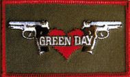Green Day Iron-On Patch Two Guns Logo