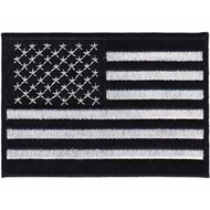American Flag Iron-On Patch Black And White