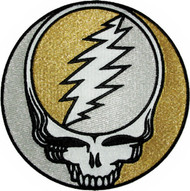 Grateful Dead Iron-On Patch Round Silver Gold Skull
