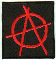 Anarchy Iron-On Patch Rectangle Red Logo