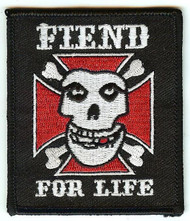 Fiend For Life Iron-On Patch Skull Logo