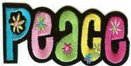 Peace Iron-On Patch Flowers Letters Logo