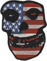 Misfits Iron-On Patch American Flag Skull Logo