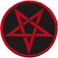Pentagram Iron-On Patch Round Red Star Logo