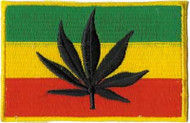 Rasta Iron-On Patch Jamaica Flag Leaf Logo