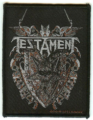 Testament Sew On Patch Pentagram Skulls Crest Logo