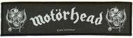 Motorhead Sew On Patch White Letters Strip Logo