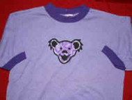 Grateful Dead Ringer T-Shirt Bear Head Purple Size Small