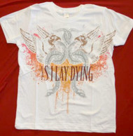 As I Lay Dying T-Shirt White Slim Fit Tee Size Large