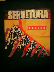 Sepultura T-Shirt Nation Tour Fists Black Size Medium
