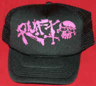 Rufio Mesh Trucker Hat Pink Skull Logo Black One Size Fits All