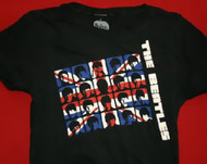 The Beatles Babydoll T-Shirt British Flag Logo Black Size Junior Large