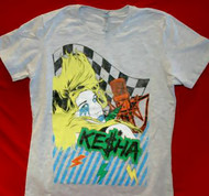 Kesha Babydoll T-Shirt Animated Logo Gray Size Junior Medium