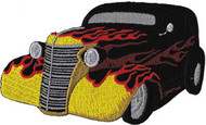 Hot Rod Iron-On Patch Black With Flames