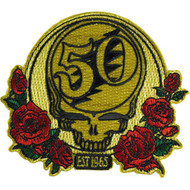 Grateful Dead Iron-On Patch 50th Anniversary Red Roses Logo