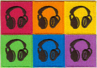 Headphones Iron-On Patch Rectangle Six Panel