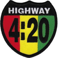 Highway 420 Iron-On Patch Rasta Logo