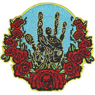 Jerry Garcia Iron-On Patch Round Hand Roses