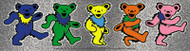 Grateful Dead Vinyl Sticker Silver Sparkle Dancing Bears Strip