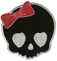 Hello Kitty Iron-On Patch Black Skull