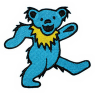 Grateful Dead Iron-On Patch Dancing Bear Blue