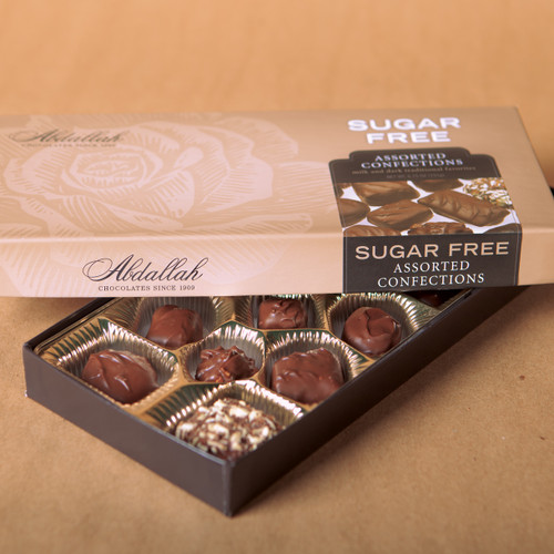 Sugar free version of some traditional favorites in Milk and dark chocolates. Crunches, caramels, clusters, creams, & chews.