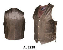 Brown Retro Mens Side Laced Motorcycle Vest