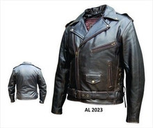 Brown Retro Buffalo Men's Premium Leather Motorycycle Biker Jacket