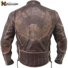 Brown DIstressed Mayhem Cowhide Racer style Leather Motorcycle Biker Jacket