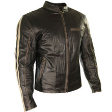 Armored Dark Brown Leather Mens Motorcycle Jacket W/ Beige Stripes