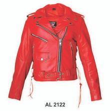 Ladies Red Cowhide Leather Motorcycle biker Jacket