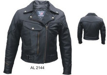 Braided Black Pistol Pete style Women's Vented Leather Biker motorcycle Jacket