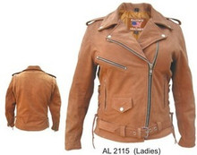 A Buffalo Brown Buff Womens Leather Motorcycle biker Jacket