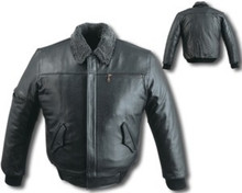 Mens Leather Bomber Black (Heavy) Jacket