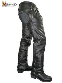 Black Premium cowhide biker chaps with zip out insulated lining