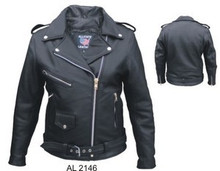 Ladies / Womens Premium Black Naked Leather Biker Jacket