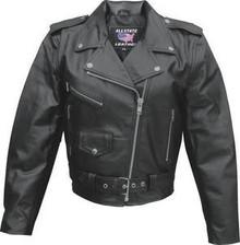 Ladies Solid Black Leather Motorcycle biker Jacket
