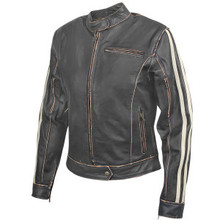 Biker Dark Brown Distressed Womens Vintage Leather Motorcycle biker Jacket w/ Beige Stripes