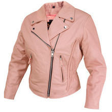 Dusty Rose Pink Braided Leather Motorcycle Biker Jacket Womens CLOSEOUT PRICED