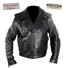 AAA Black Premium Impact Resistant Armored & Vented Naked Leather Motorcycle Jacket $350 Retail