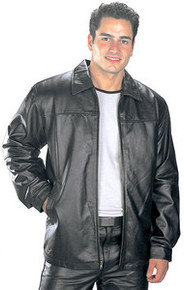 MENS BLACK HIP LENGTH LEATHER JACKET