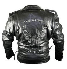 Live to Ride BLACK Leather Motorcycle Jacket