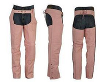 Womens PREMIUM PINK LEATHER MOTORCYCLE CHAPS XL NEW