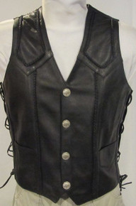 Black Premium Naked Leather Men's Vest with Buffalo Nickel Snaps Closeout