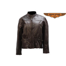 A1 Brown Vented Womens Leather Motorcycle Biker Jacket